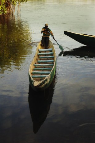Wooden canoe in The Gambia.